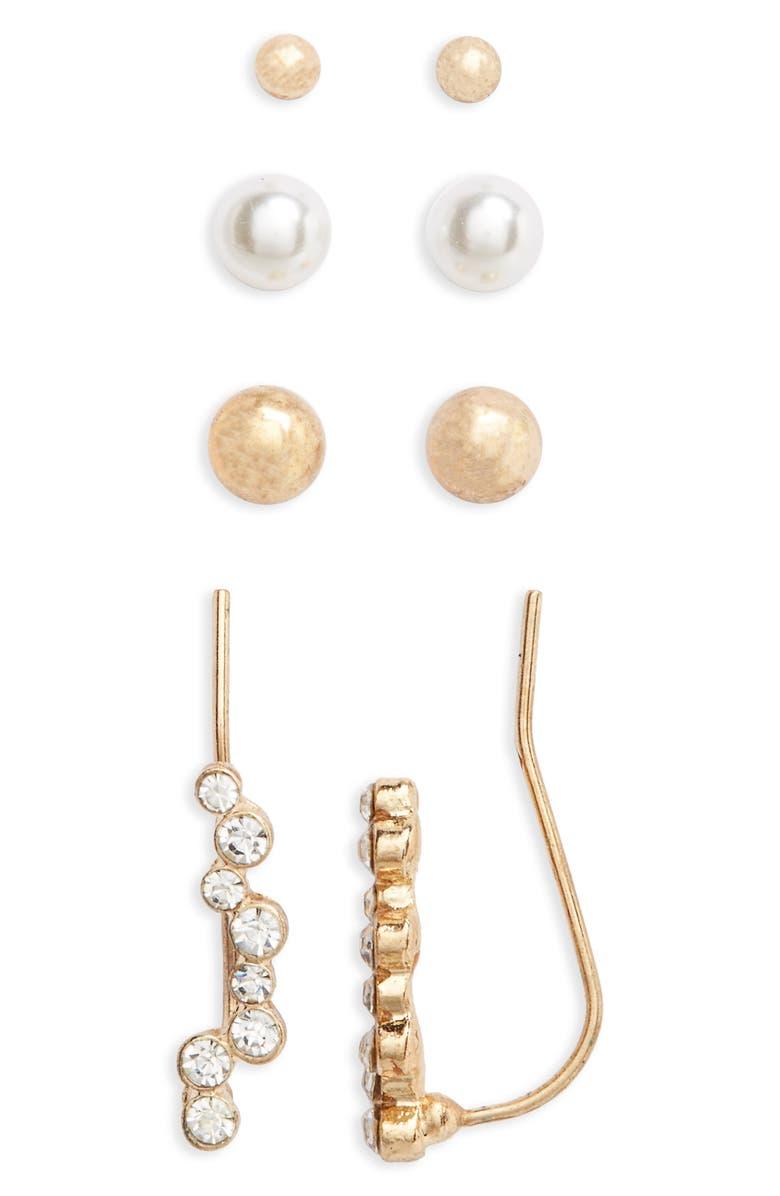 BP. 4-Pack Ear Crawlers & Stud Earrings, Main, color, 710