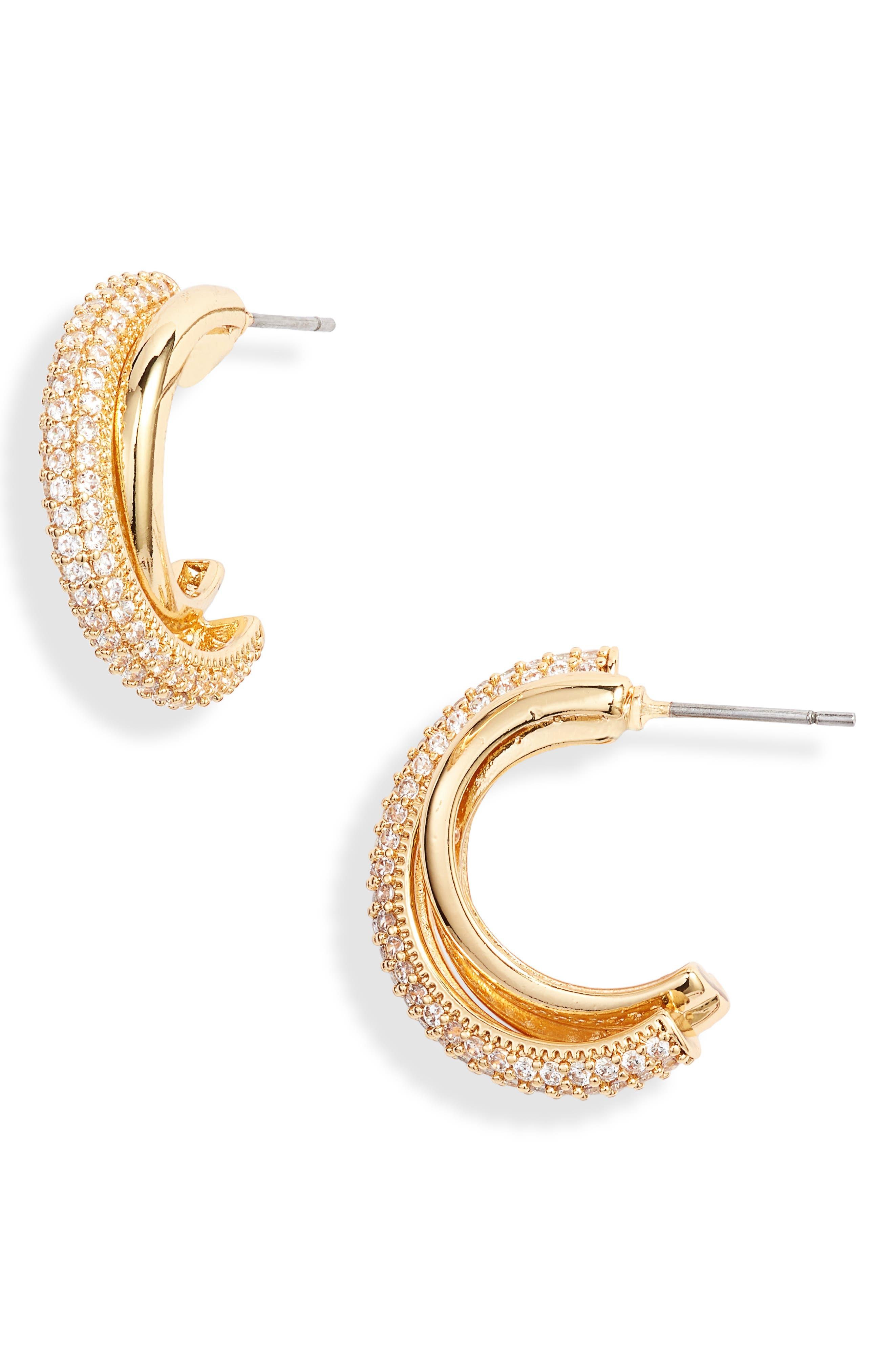 Small Pave Hoop Earrings