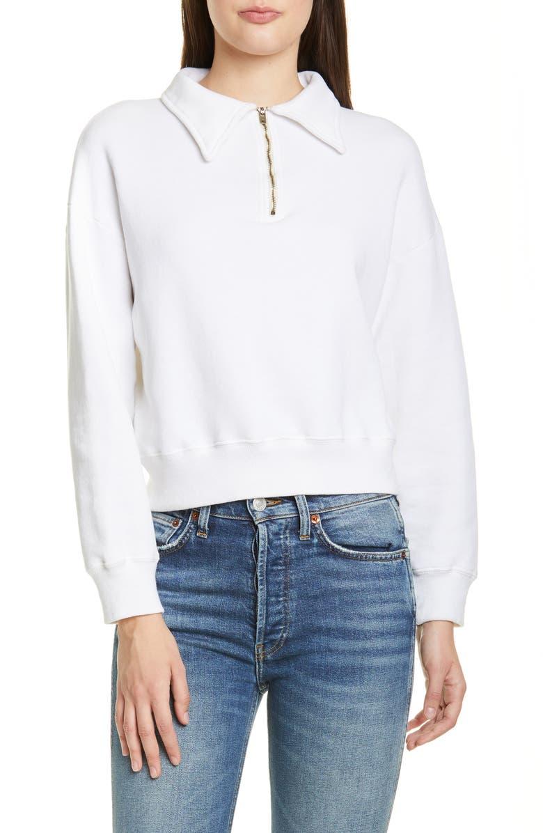 RE/DONE '70s Half Zip Sweatshirt, Main, color, OFF-WHITE