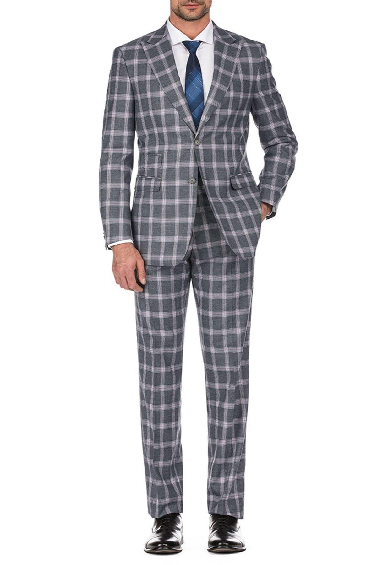Image of English Laundry Gray Plaid Slim Fit Peak Lapel Suit