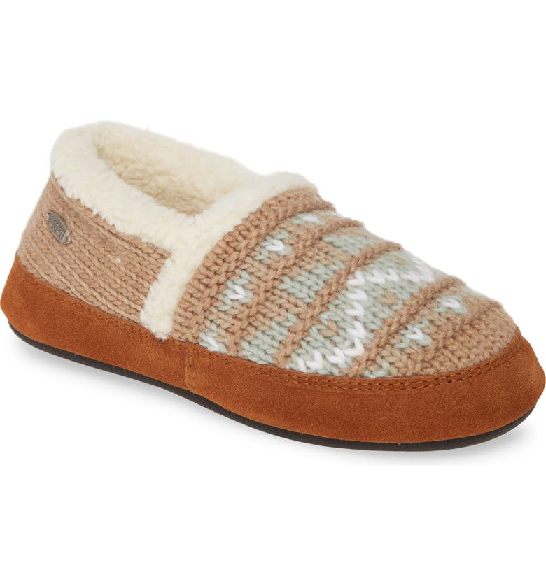ACORN Nordic Moc Slipper, Main, color, NORDIC OATMEAL HEATHER KNIT