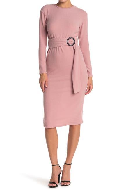 Image of Velvet Torch Long Sleeve Belted Midi Sweater Dress