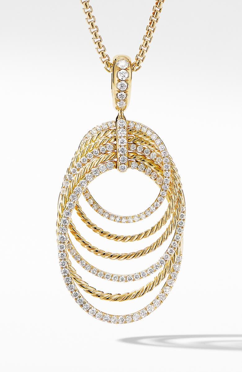 DAVID YURMAN Origami Pendant Necklace in 18K Yellow Gold with Diamonds, Main, color, YELLOW GOLD/ DIAMOND