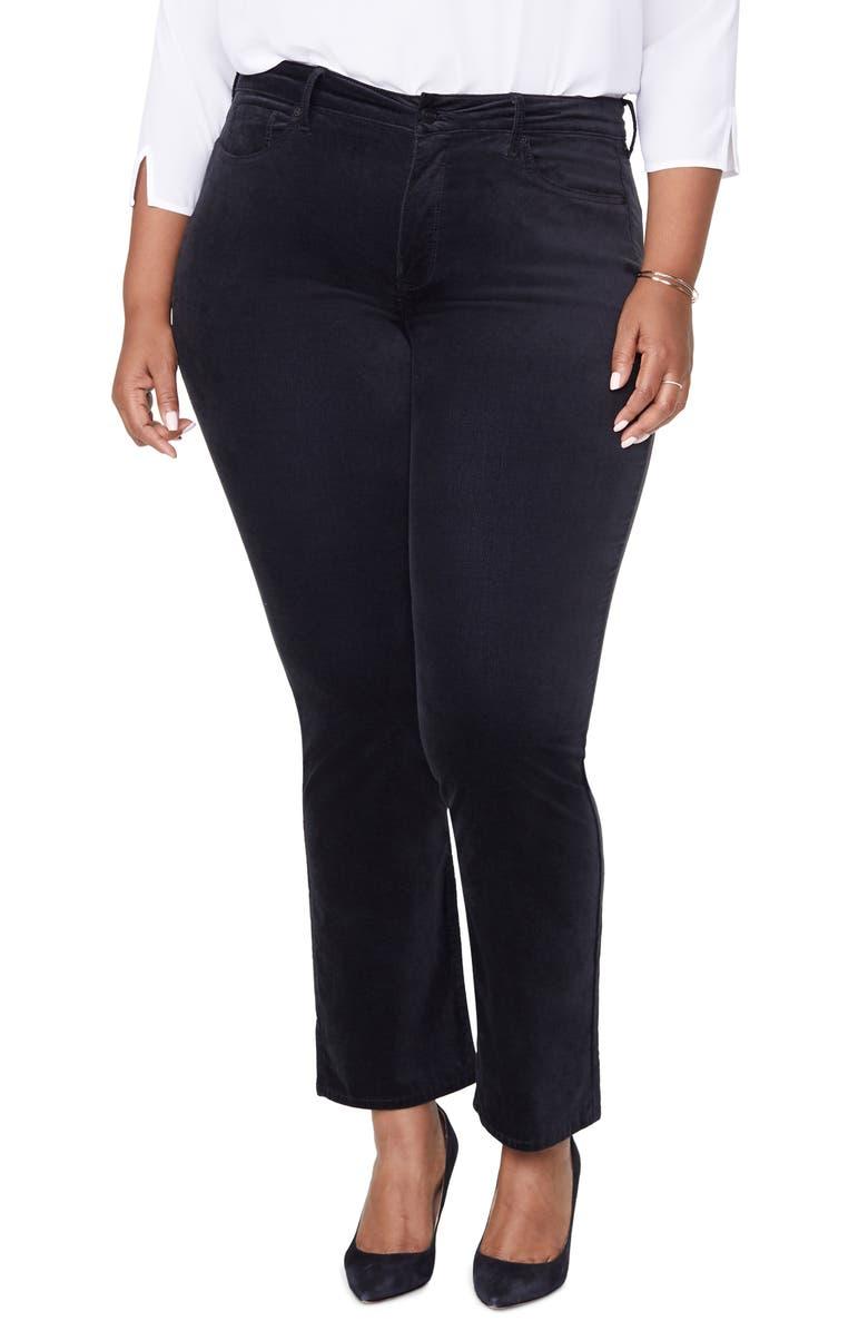 NYDJ Marilyn Straight Leg Cotton Blend Velvet Pants, Main, color, BLACK