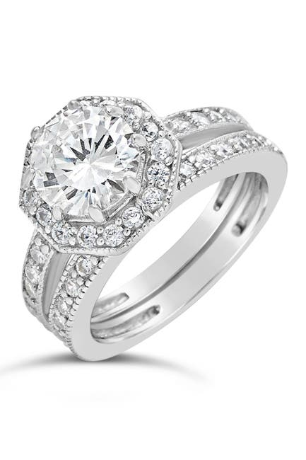 Image of Sterling Forever Sterling Silver Octagon CZ Ring & Band Set