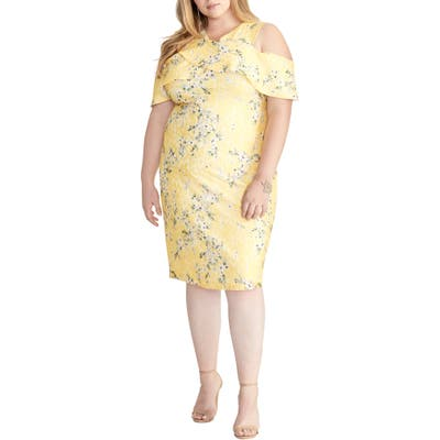Plus Size Rachel Rachel Roy Cold Shoulder Lace Sheath Dress, Yellow