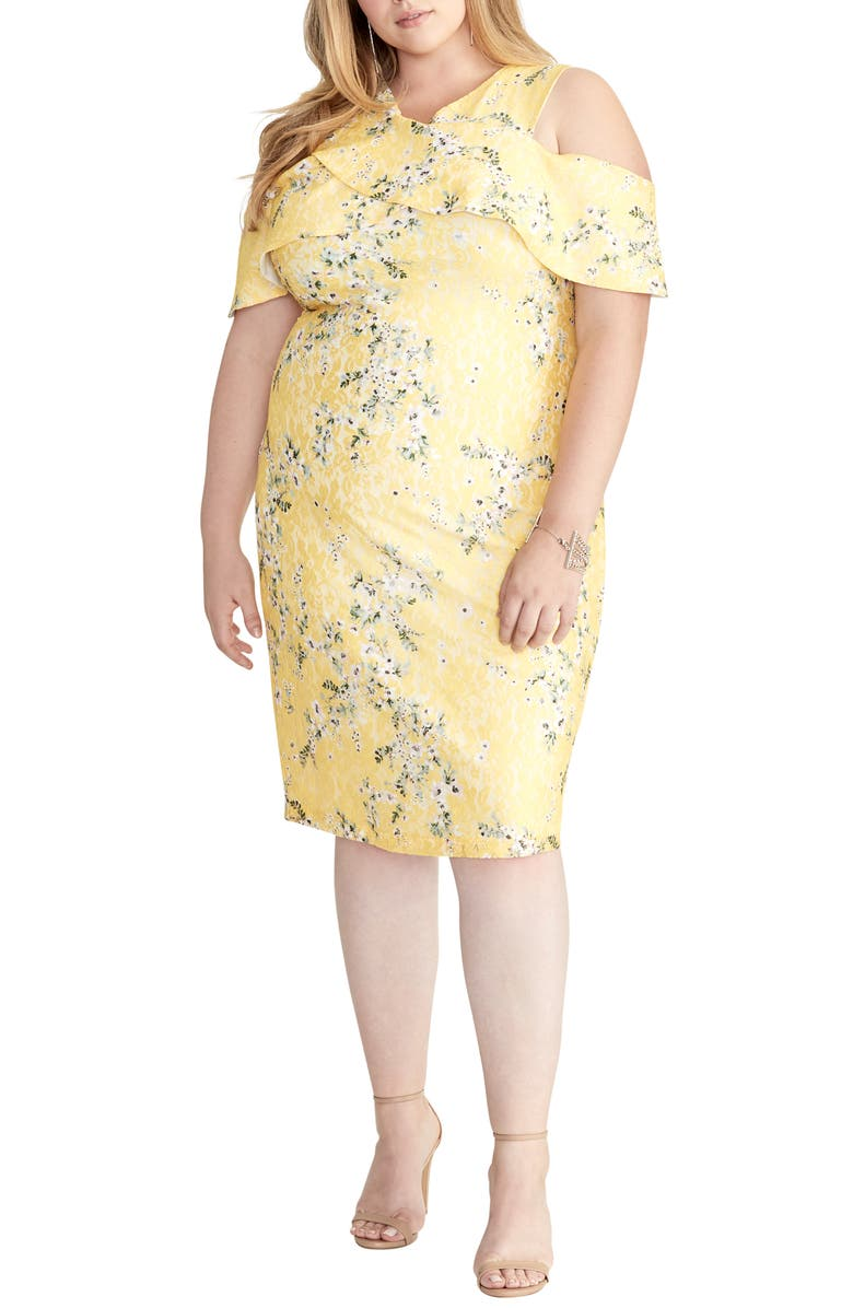 RACHEL RACHEL ROY Cold Shoulder Lace Sheath Dress, Main, color, SOLAR SUN COMBO