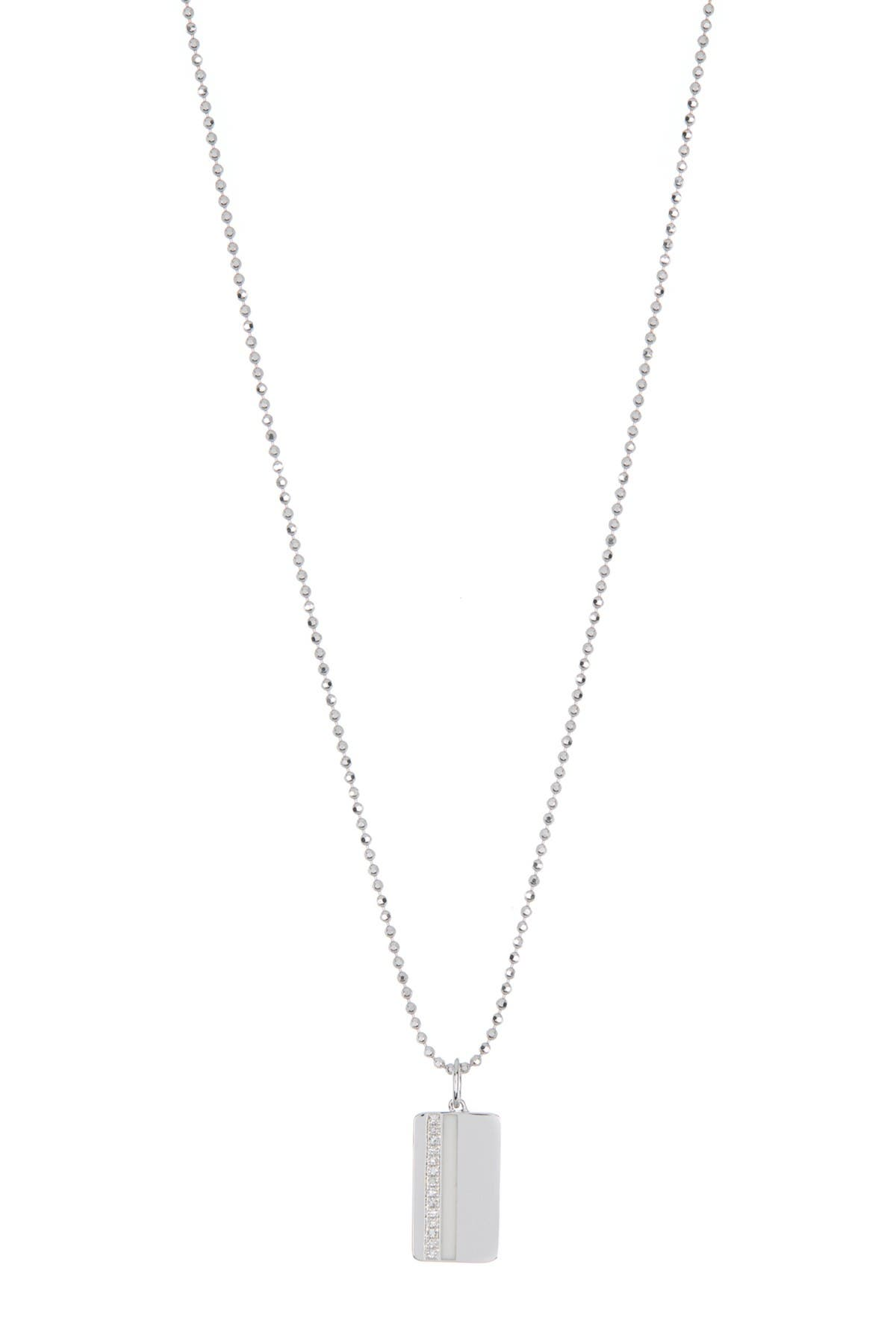 Image of EF Collection 14K White Gold Diamond & Enamel ID Tag Necklace - 0.04 ctw