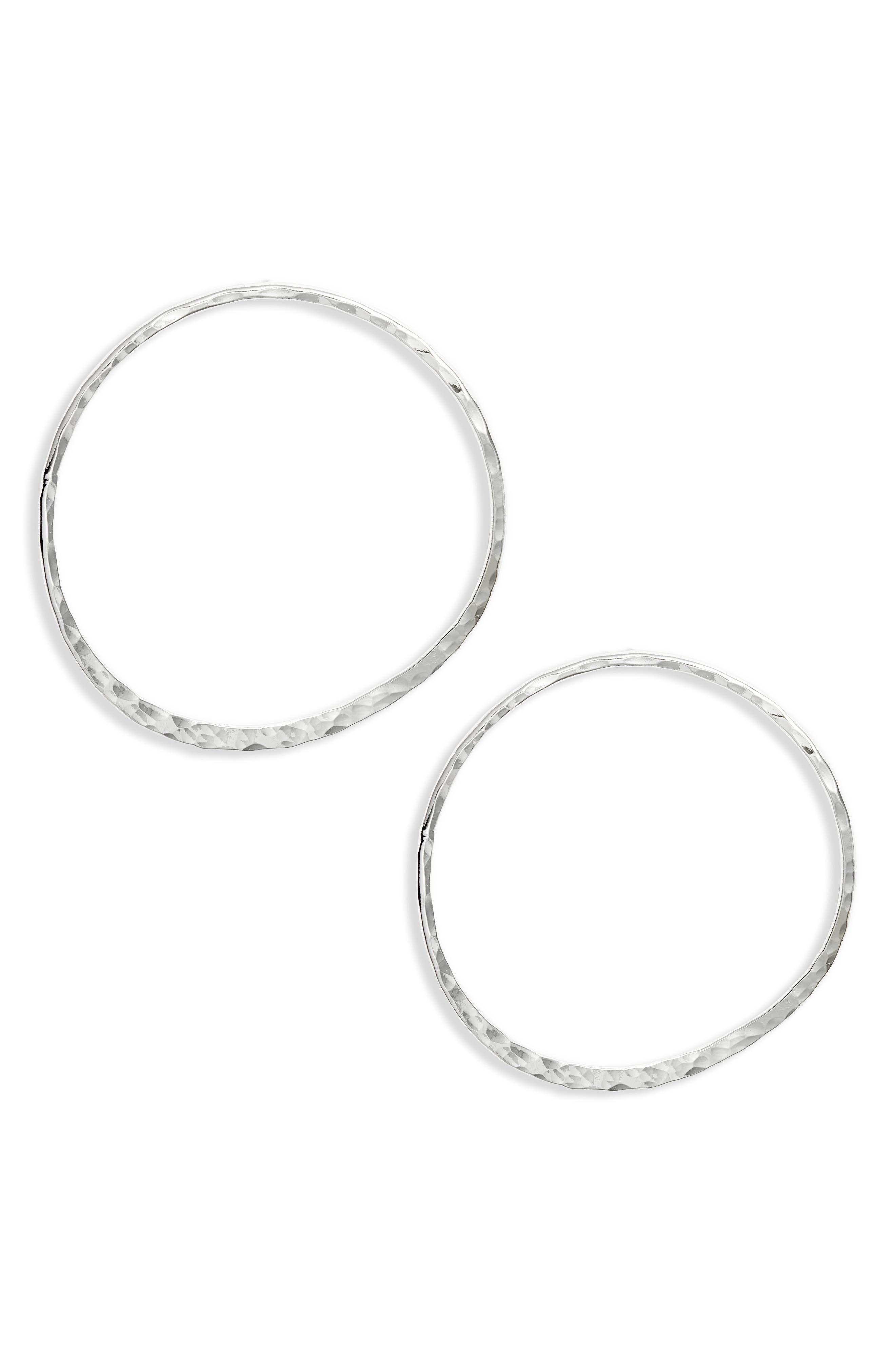 Hammered Hoop Earrings, Main, color, SILVER