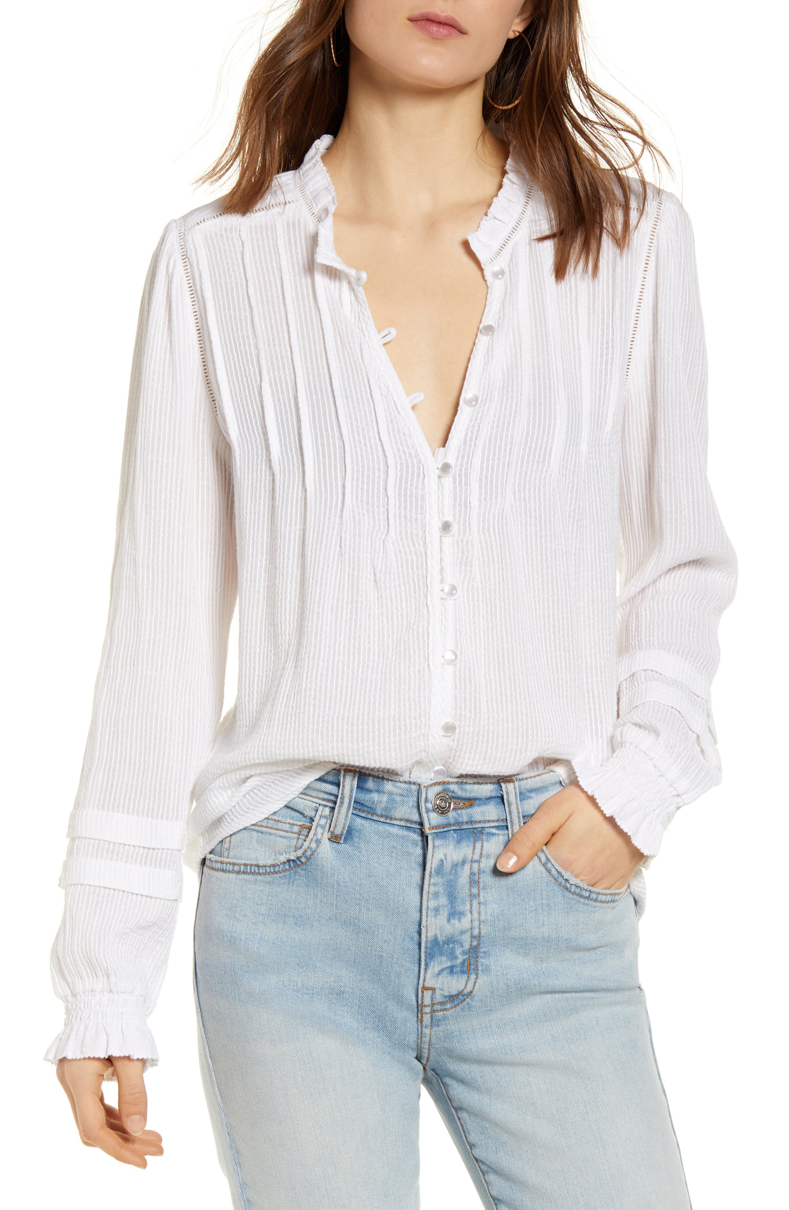 Willa Button Front Peasant Blouse