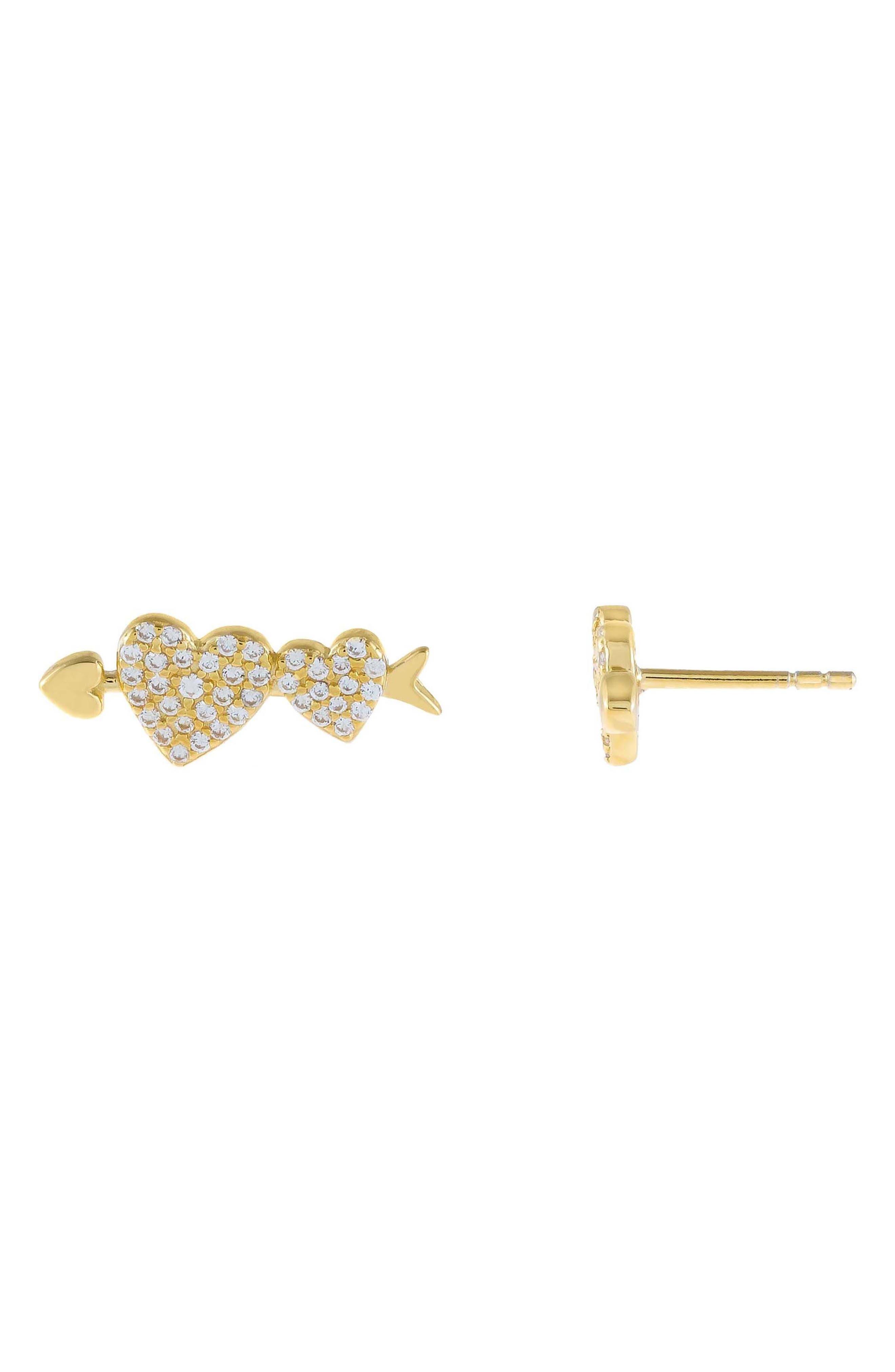 Women's Adina's Jewels Heart Arrow Stud Earrings
