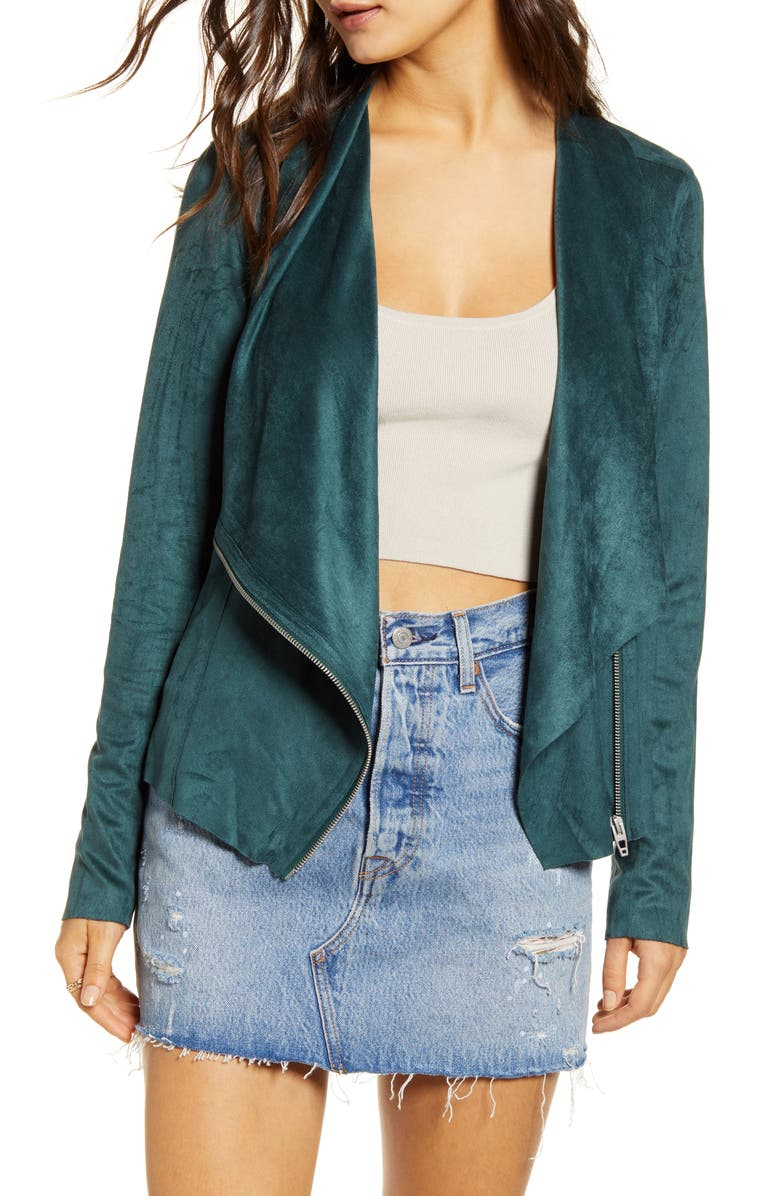 BLANKNYC Faux Suede Drape Front Jacket, Main, color, JUNE BUG