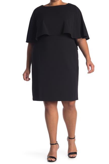 Image of Calvin Klein Popover Ruffle Sheath Dress