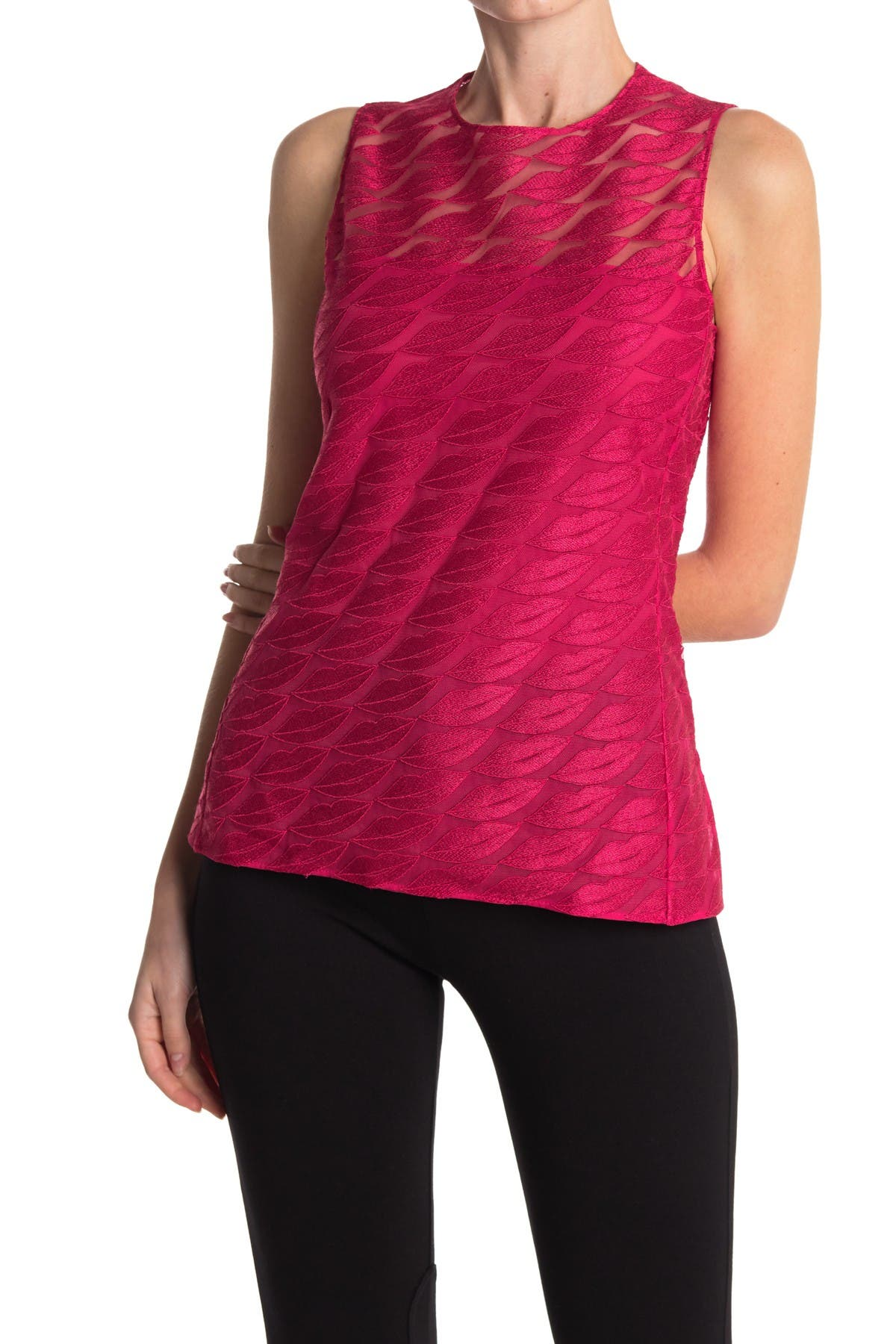 Image of Akris Embroidered Lips Sleeveless Top