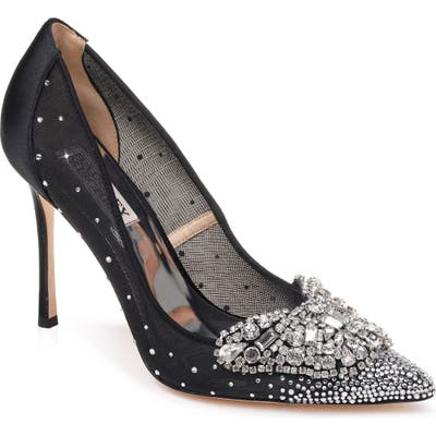 Badgley Mischka Quintana Crystal Embellished Pump- Black