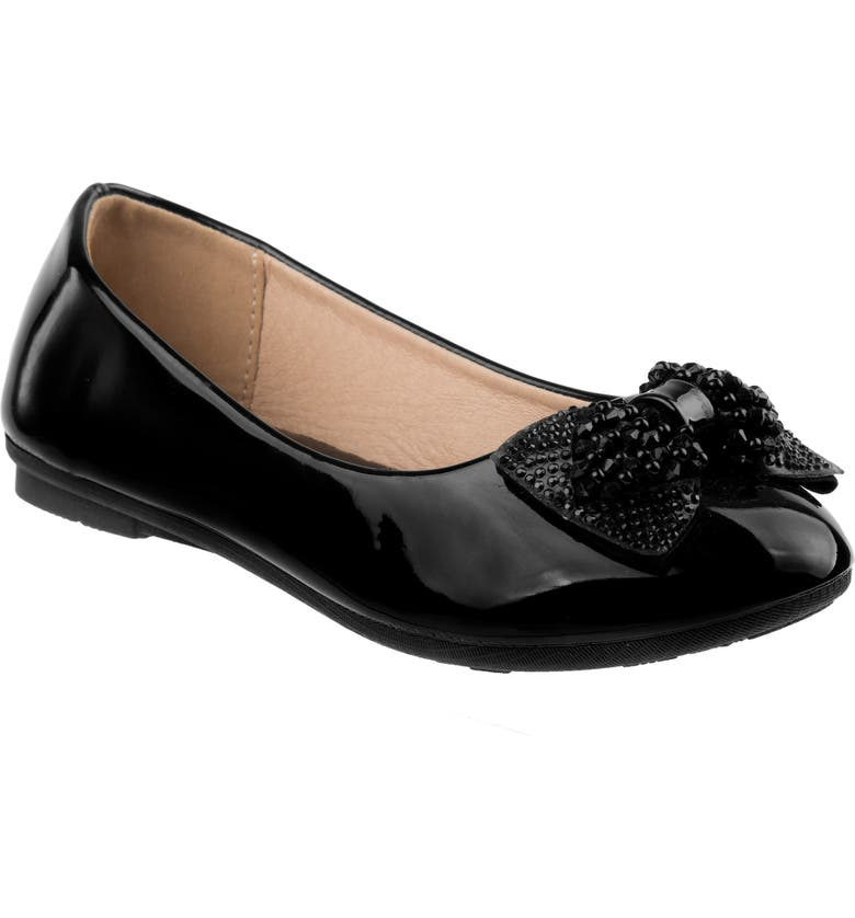 LAURA ASHLEY Bow Ballerina Flat, Main, color, BLACK FAUX PATENT