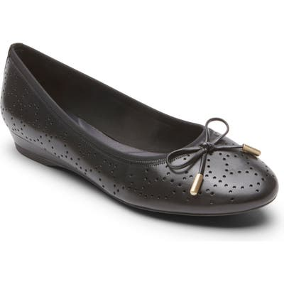Rockport Shea Perforated Tie Flat- Black