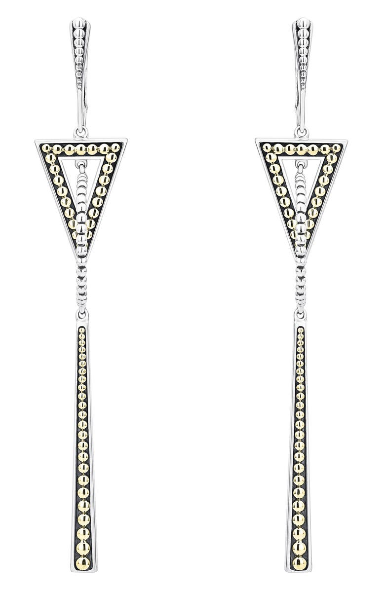 LAGOS Signature Caviar Two-Tone Triangle & Circle Drop Earrings, Main, color, SILVER/ GOLD