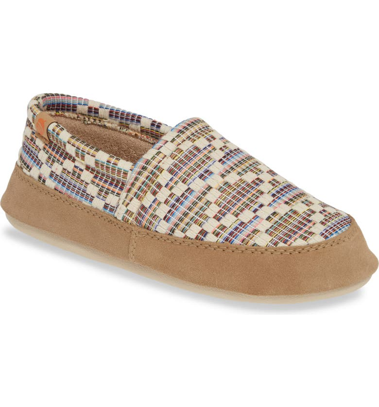 ACORN Summer Weight Moc Slipper, Main, color, PEBBLE DIAMOND FABRIC