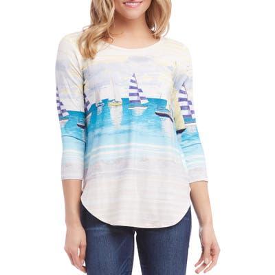 Karen Kane Shirttail Top, Blue