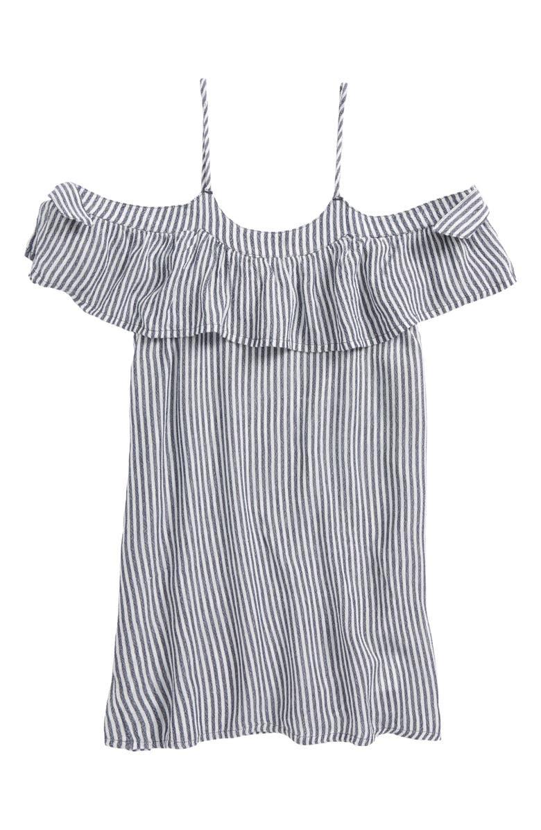 O'NEILL Maylee Stripe Cold-Shoulder Cover-Up Dress, Main, color, WASHED INDIGO