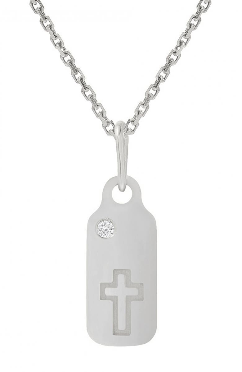MINI MINI JEWELS Icons - Cross Diamond Dog Tag Necklace, Main, color, WHITE GOLD