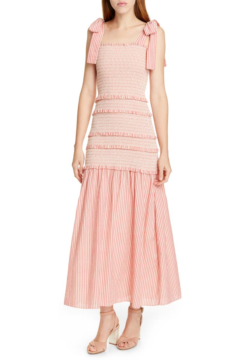 LOVESHACKFANCY Robyn Stripe Smocked Ruffle Maxi Dress, Main, color, FRENCH TULIP