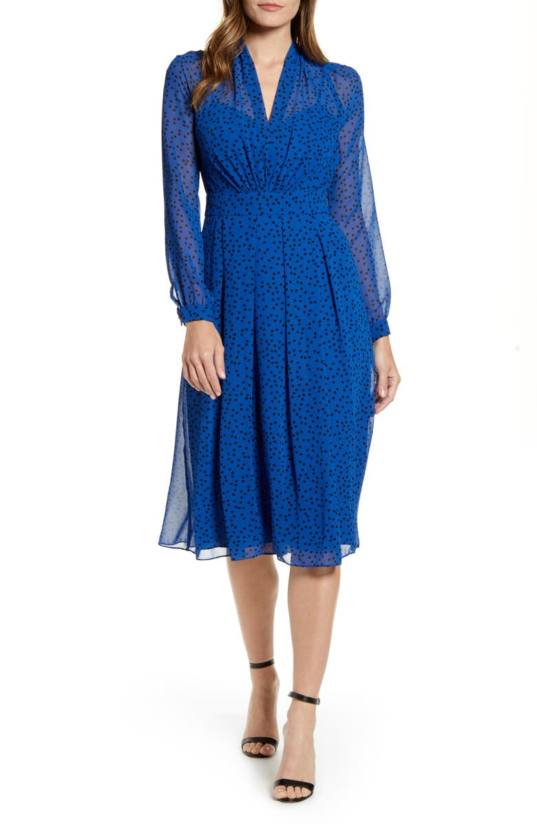 Anne Klein Stellar Dot Long Sleeve A Line Dress