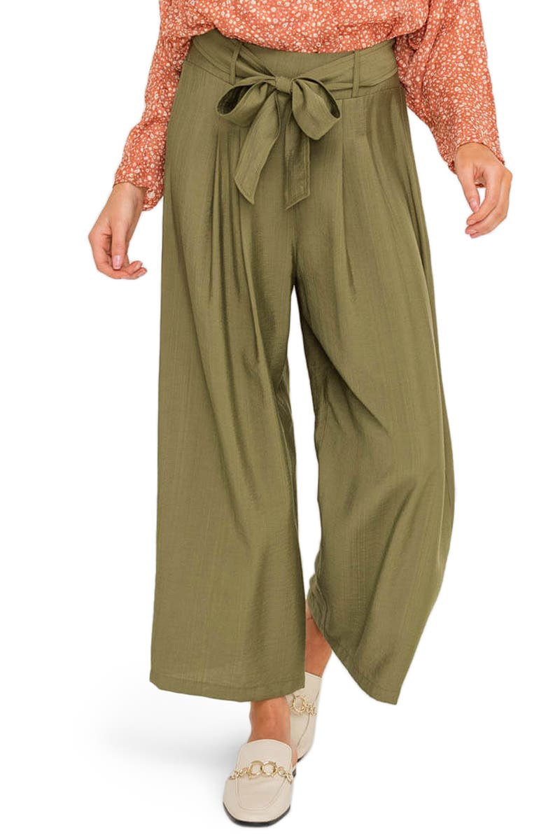 ALL IN FAVOR Belted Wide Leg Pants, Main, color, OLIVE