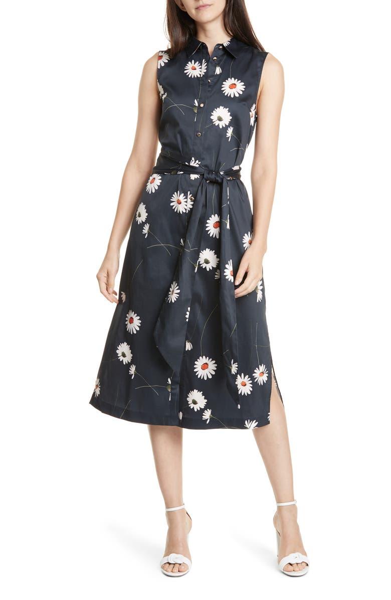 TED BAKER LONDON Daisy Print Sleeveless Stretch Cotton Shirtdress, Main, color, DARK BLUE