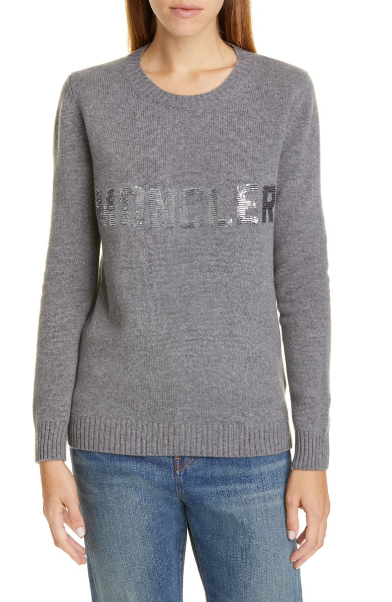 MONCLER Sequin Logo Wool & Cashmere Sweater, Main, color, GREY