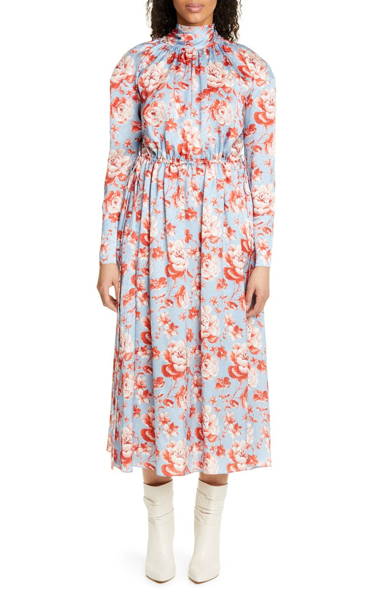 MAGDA BUTRYM Viseu Floral Print Silk Jacquard Midi Dress, Main, color, 400