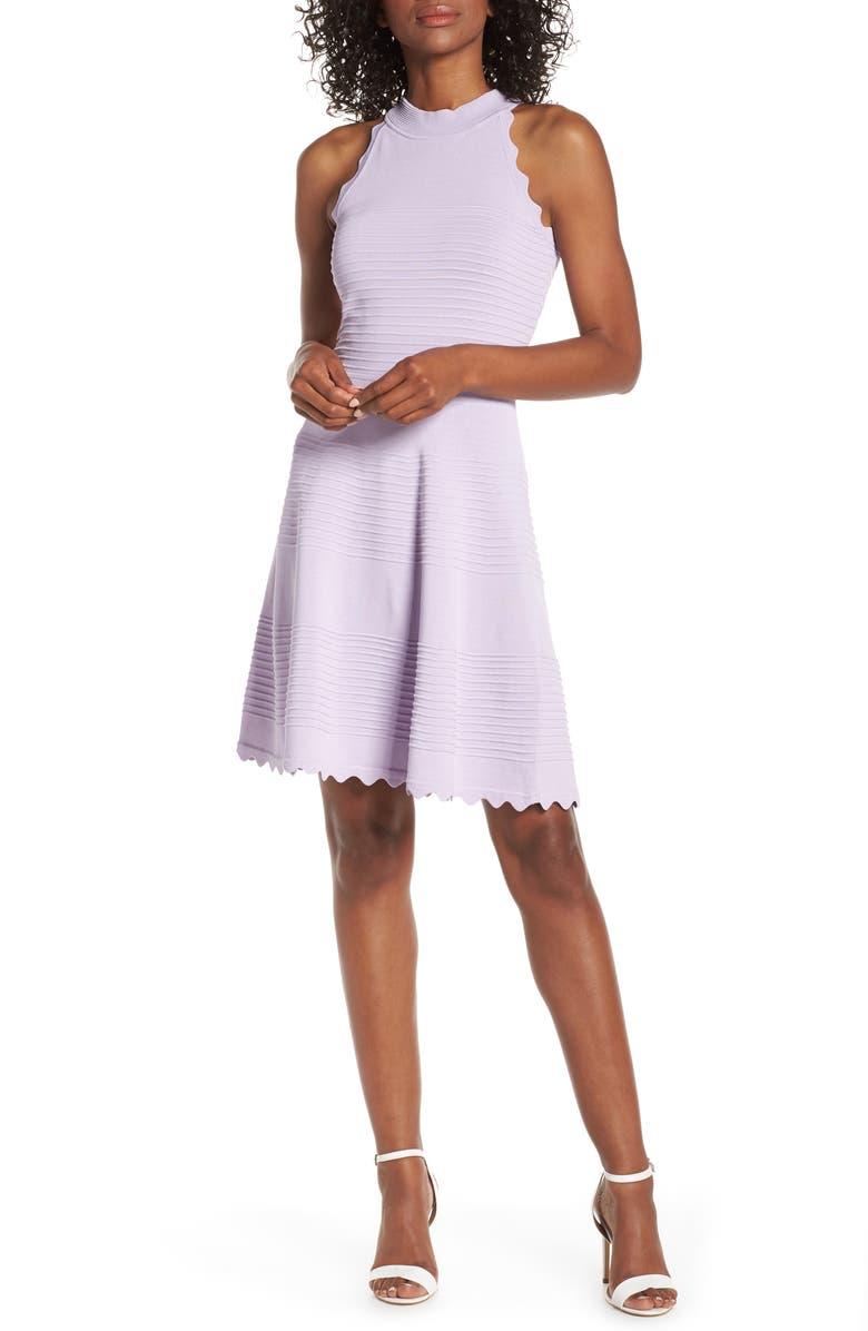 ELIZA J Scalloped Fit & Flare Dress, Main, color, LILAC