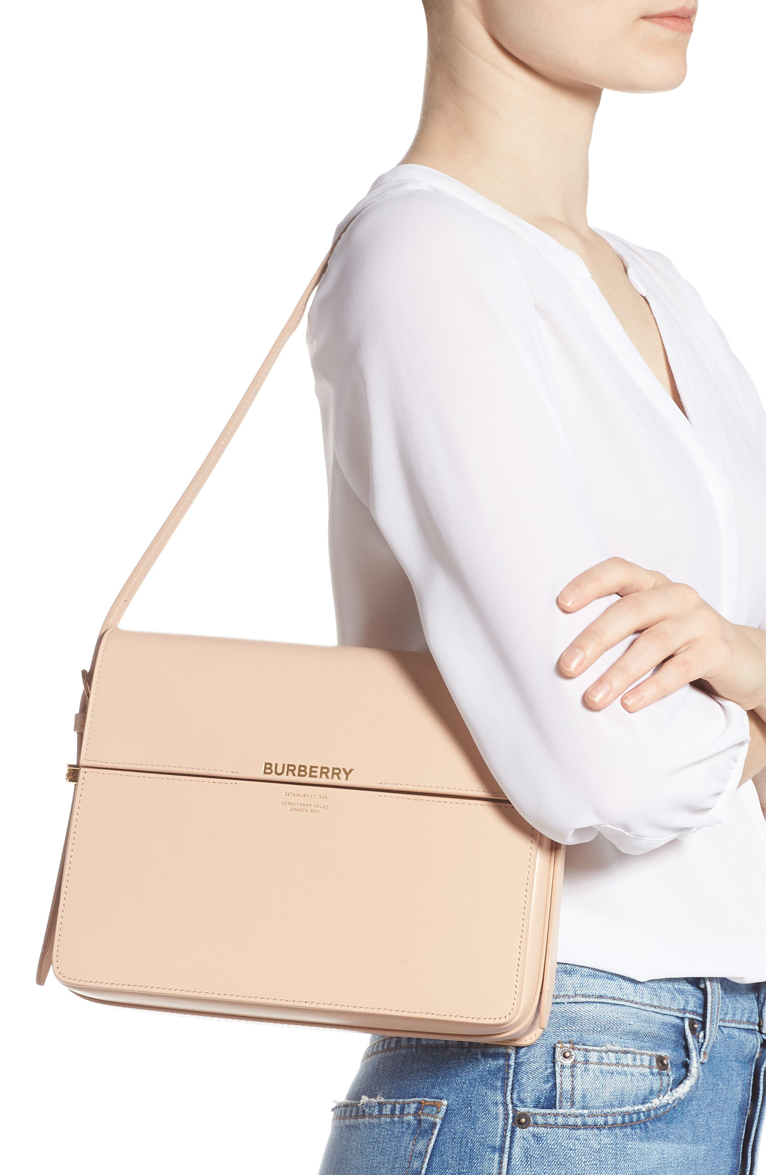 ,                             Large Grace Leather Shoulder Bag,                             Alternate thumbnail 2, color,                             SOFT BLUSH