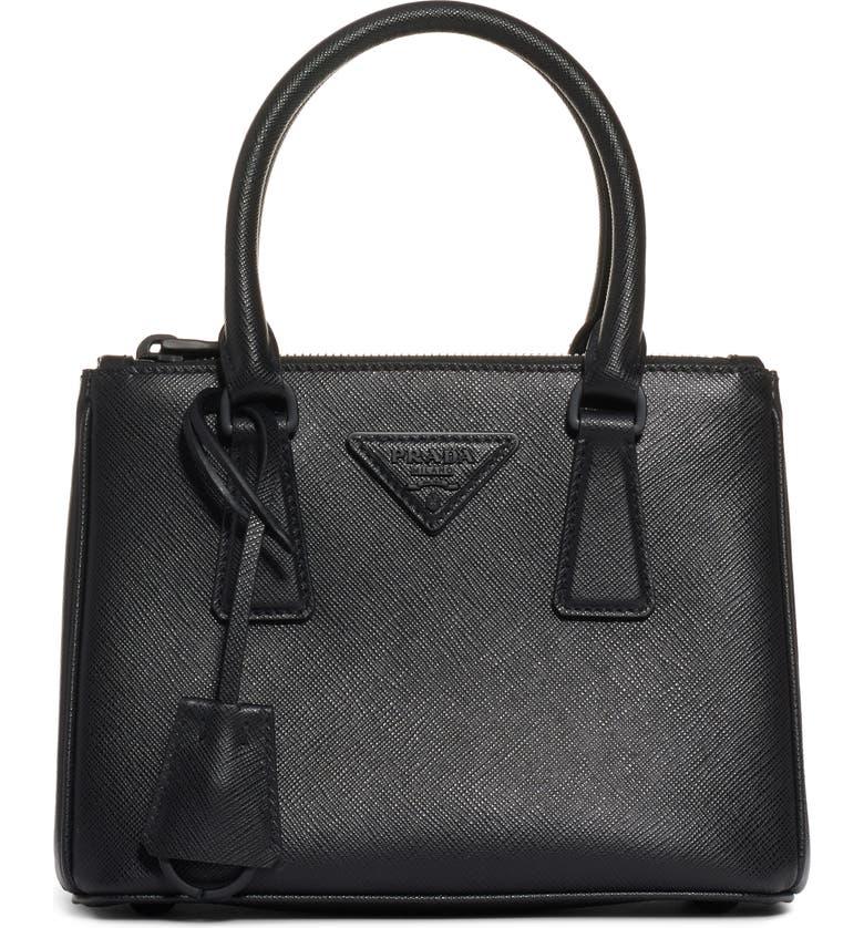 PRADA Mini Galleria Saffiano Leather Satchel, Main, color, NERO