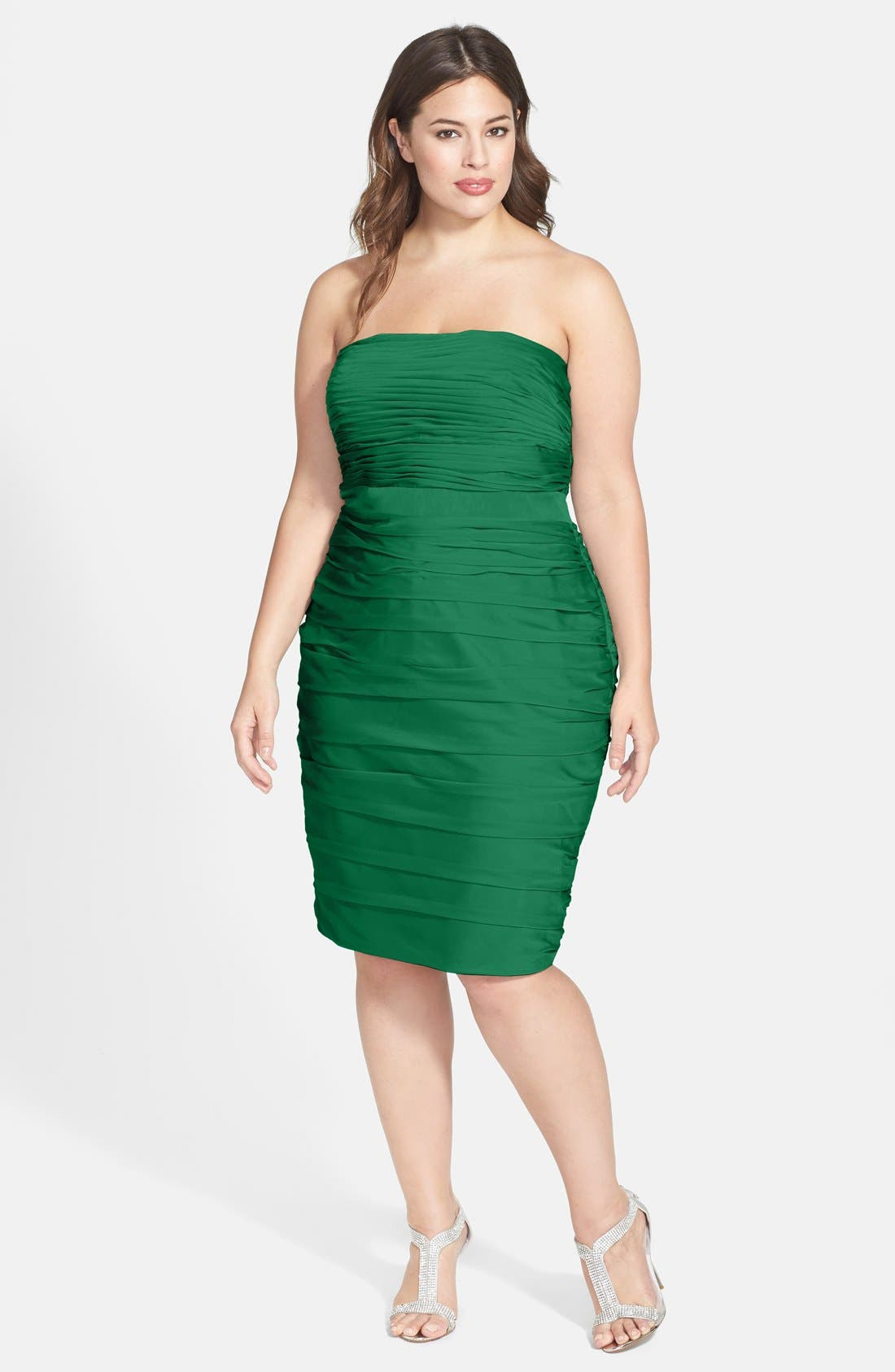 ,                             Ruched Strapless Cationic Chiffon Dress,                             Alternate thumbnail 33, color,                             305