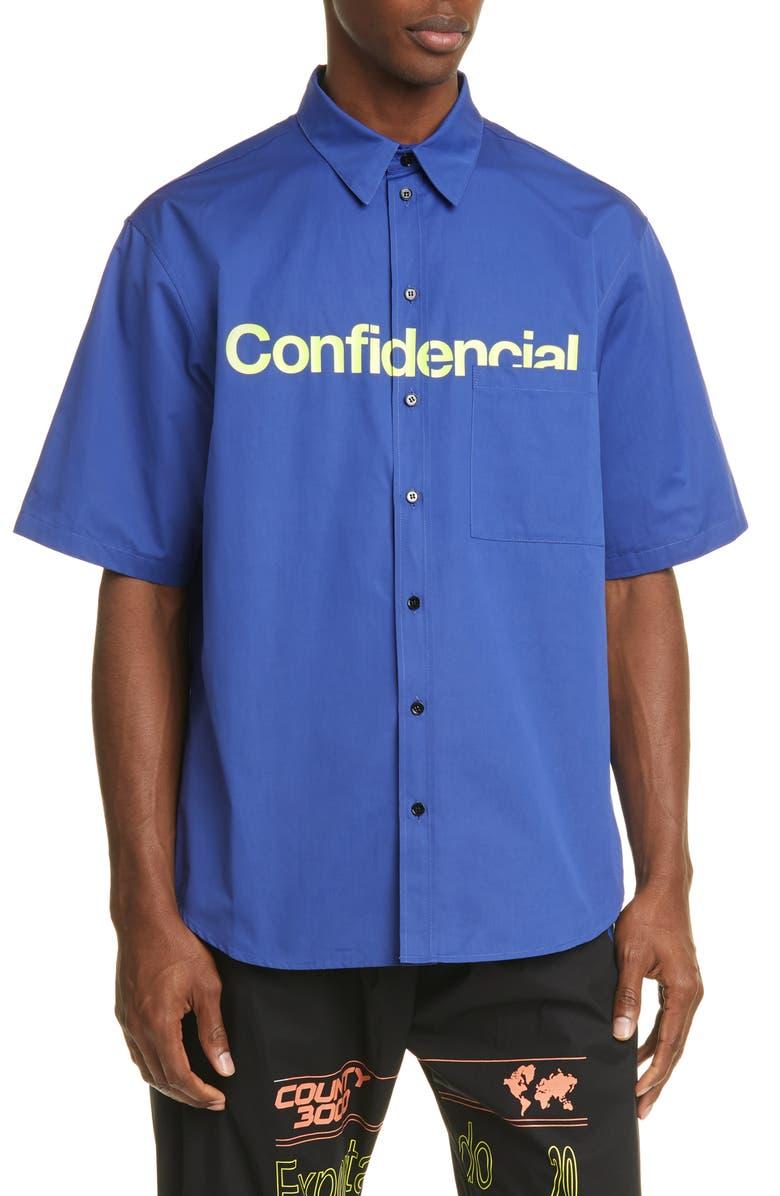 MARCELO BURLON Confidencial Pocket Shirt, Main, color, BLUE LIME