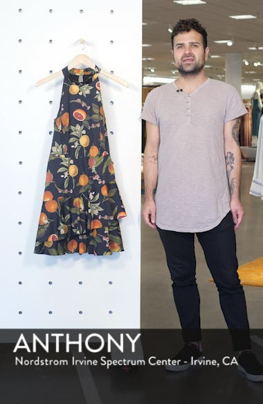 Fruit Print Halter Neck Dress, sales video thumbnail