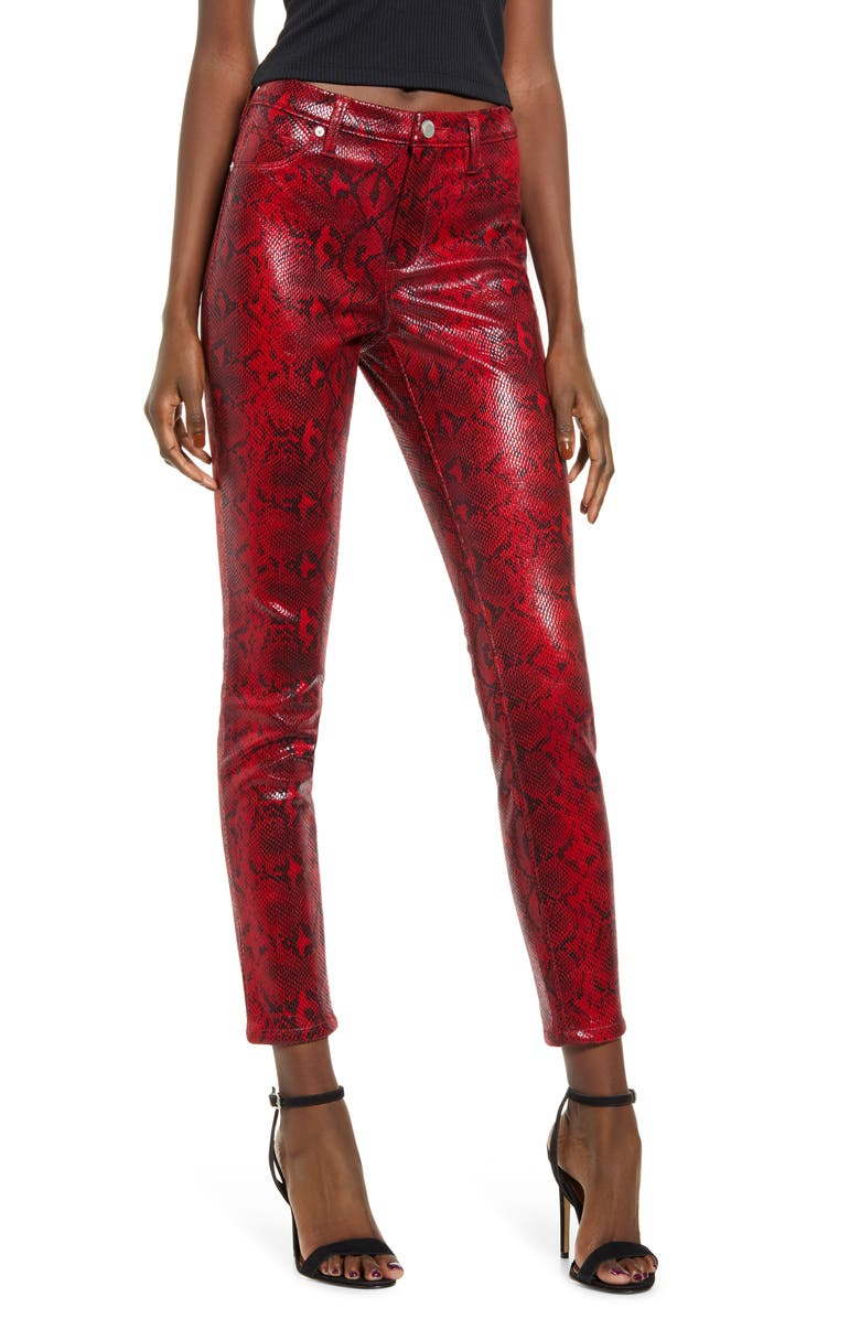 BLANKNYC Faux Python Skinny Pants, Main, color, FIREHOUSE