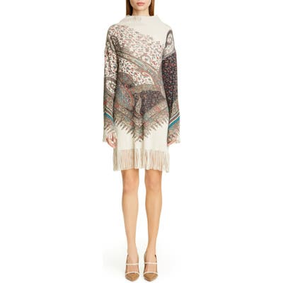 Etro Fringe Trim Long Sleeve Wool & Cashmere Sweater Dress, US / 42 IT - Grey