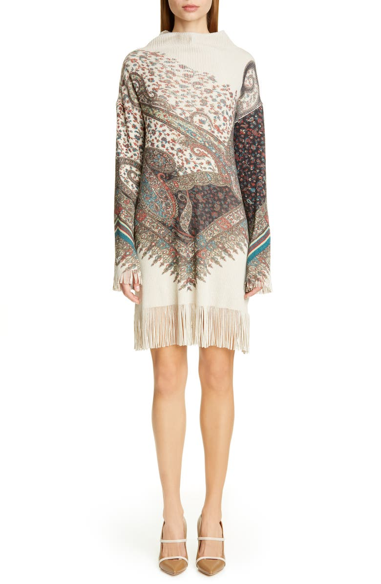 ETRO Fringe Trim Long Sleeve Wool & Cashmere Sweater Dress, Main, color, 020