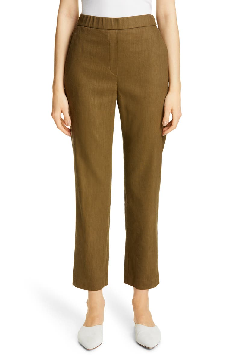 ST. JOHN COLLECTION Linen Blend Twill Crop Pants, Main, color, OLIVE