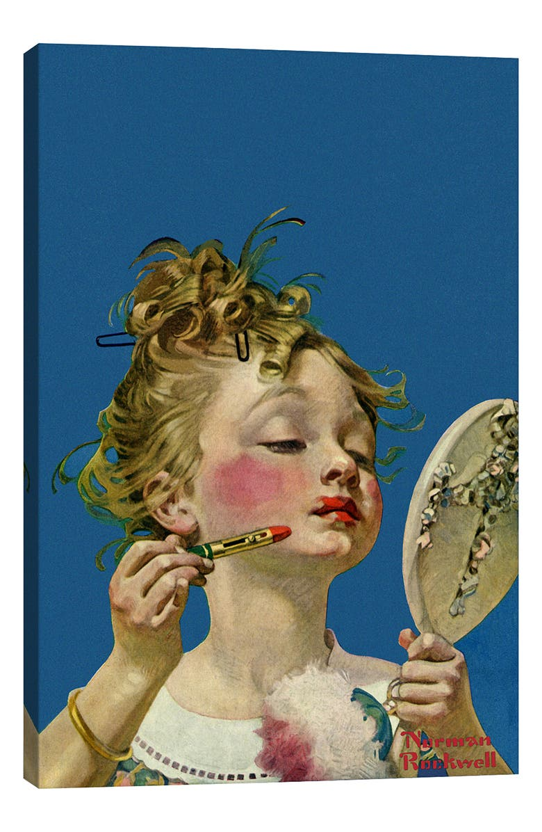 ICANVAS Little Girls with Lipstick - Norman Rockwell Giclée Print Canvas Art, Main, color, BLUE