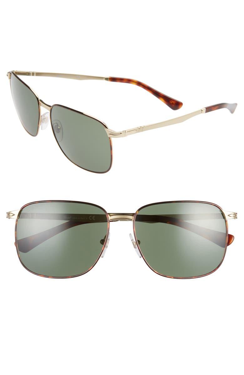 PERSOL 59mm Square Sunglasses, Main, color, BROWN/ GREEN