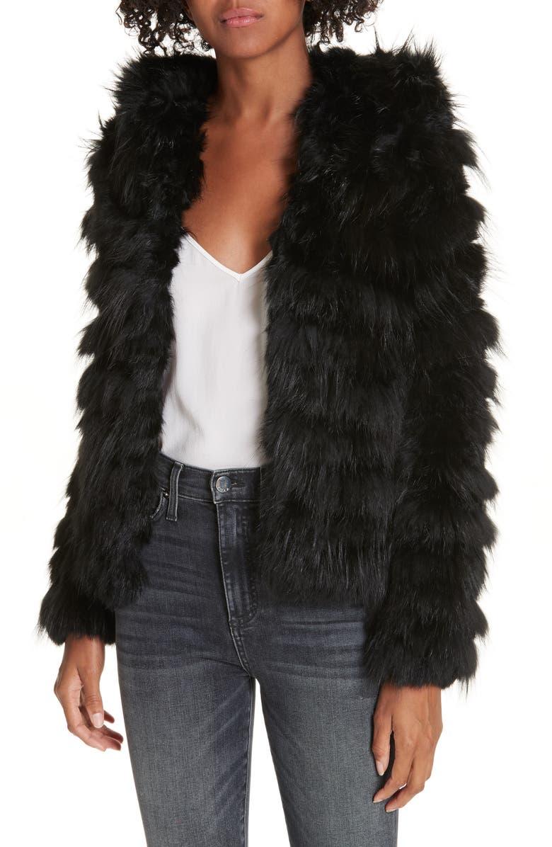 ALICE + OLIVIA Nadia Genuine Rabbit & Fox Fur Jacket, Main, color, 001