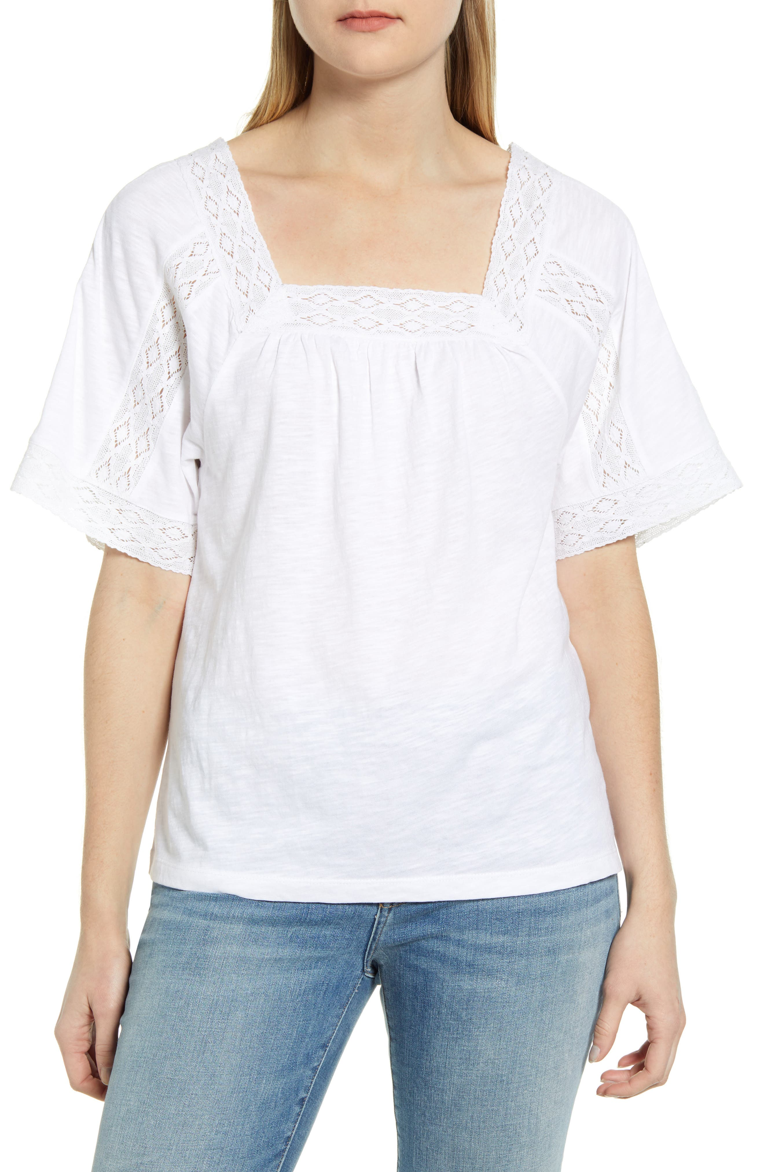 A slubbed-jersey T-shirt gets a boho makeover with bands of lace tracing the cuffs and square necklines as well as striping the flowy elbow-length sleeves. Style Name: Caslon Lace Inset Boho T-Shirt. Style Number: 5988188 1. Available in stores.