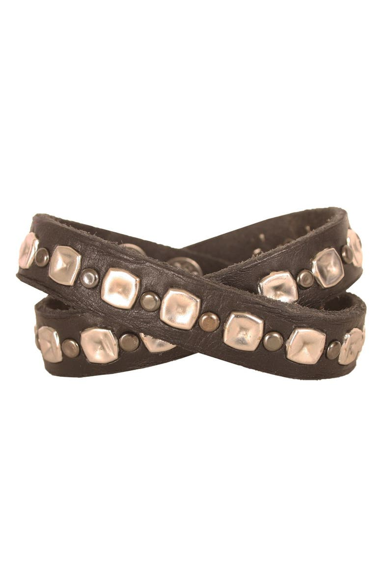 WILL LEATHER GOODS Studded Wrap Cuff, Main, color, 001