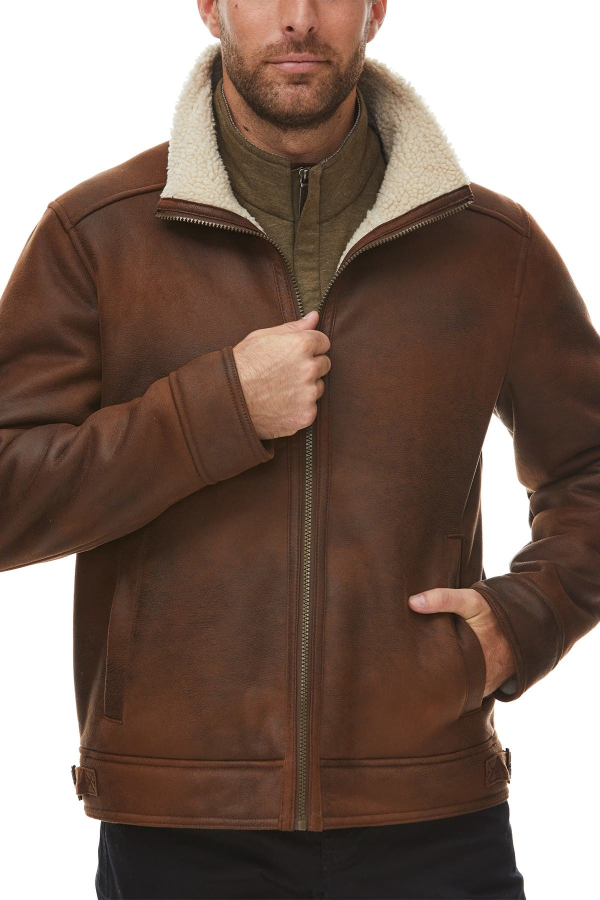 Image of Rainforest Faux Shearling Lined Leather Aviator Jacket