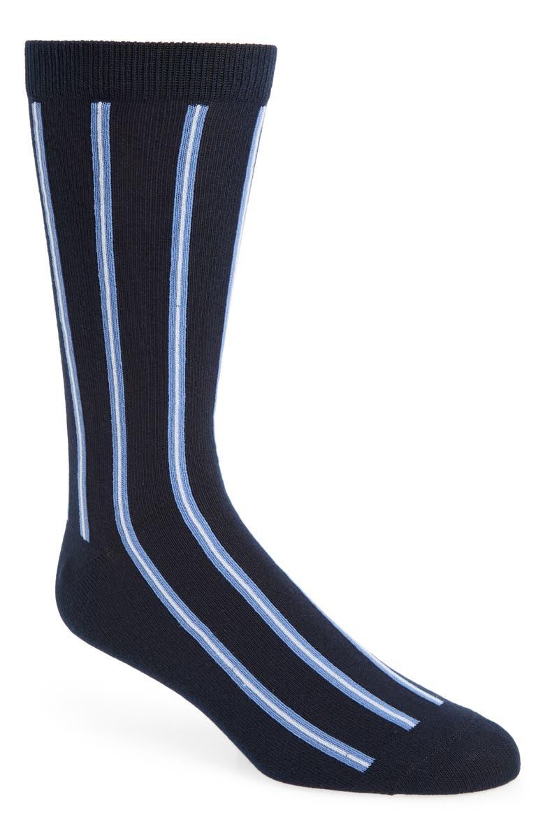 1901 Stripe Socks, Main, color, NAVY/ BLUE