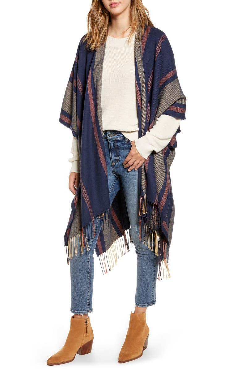 MADEWELL Variegated Stripe Poncho, Main, color, DARK NIGHTFALL MULTI